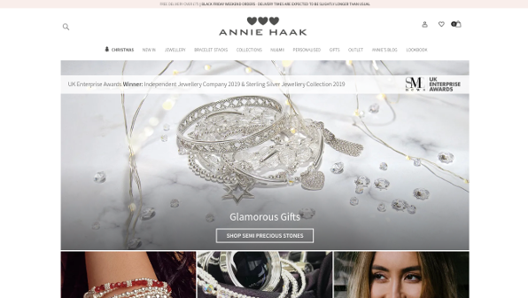 Screenshot of 'Annie Haak Designs' - Responsive Magento Website