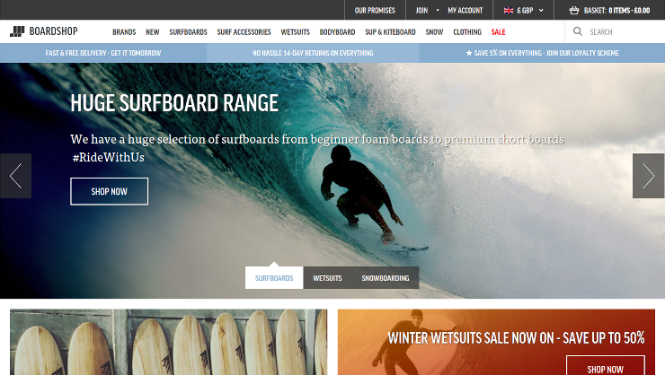 Screenshot of 'Boardshop.co.uk' responsive website