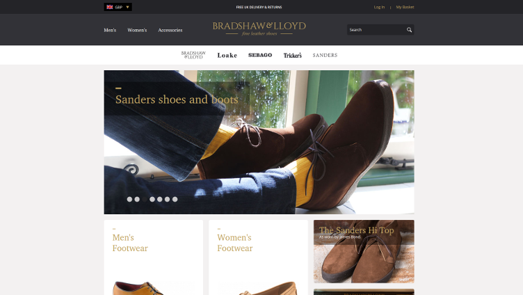 Screenshot of 'Bradshaw & Lloyd' fully responsive magento website
