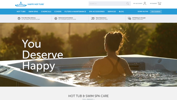 Screenshot of 'happyhottubs.co.uk' responsive Magento 2 website