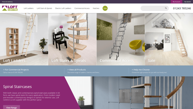 Screenshot of 'loftcentre.co.uk' responsive Magento 2 website