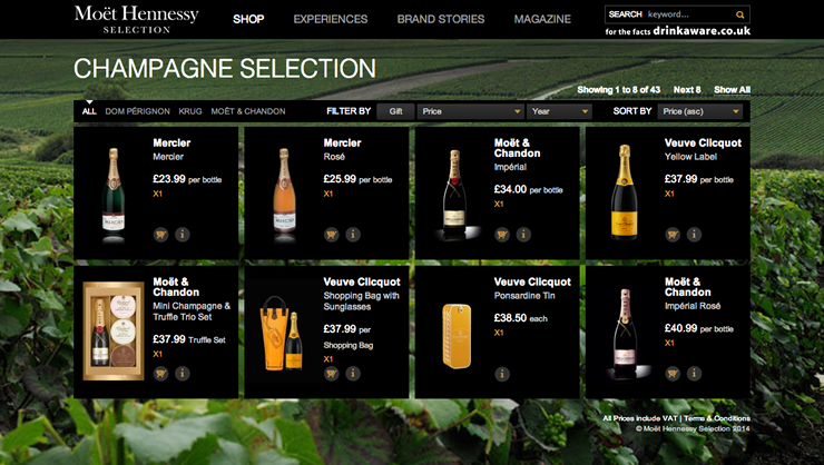 Screenshot of 'Moët Hennessy Selection' Bespoke Magento Website