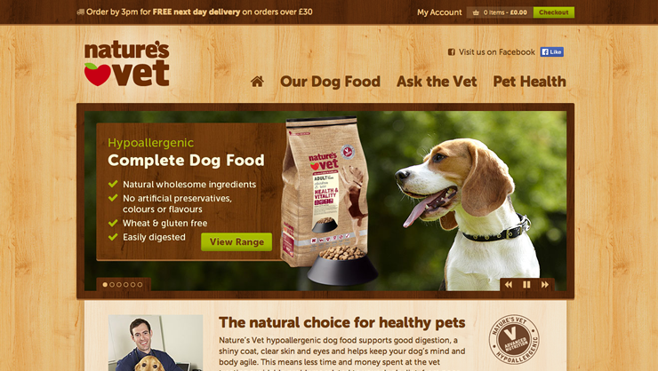 Screenshot of 'Natures Vet' Responsive Magento Website