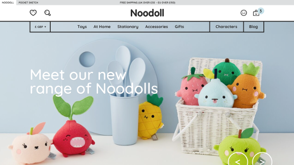 Screenshot of 'noodoll.com' responsive Magento 2 design
